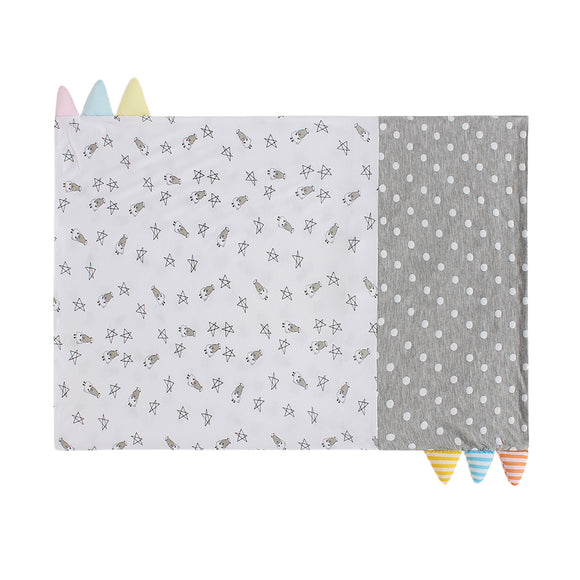 Bed-Time Buddy™ Case Small Star & Sheepz White + Polka Dot Grey with Color & Stripe Tag - Adult