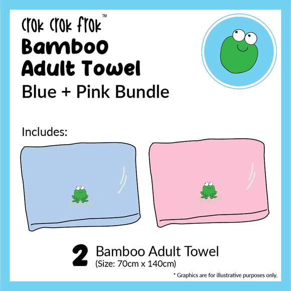 Crok Crok Frok Adult Towel Buy 1 Free 1 (Blue + Pink Bundle)