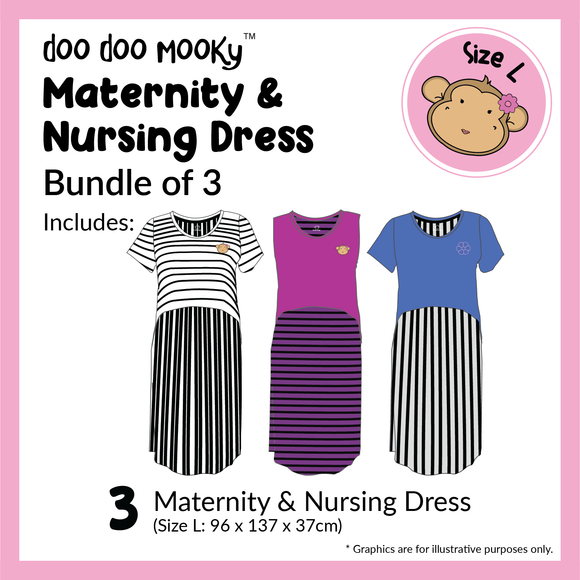 DooDooMooky Maternity & Nursing Dress Bundle of 3 (Size L)