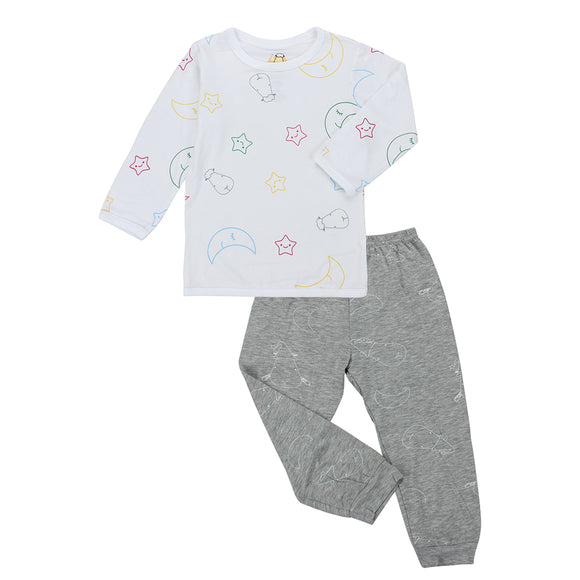 Pyjamas Set Colourful Moon & Star White + Big Moon & Sheepz Grey