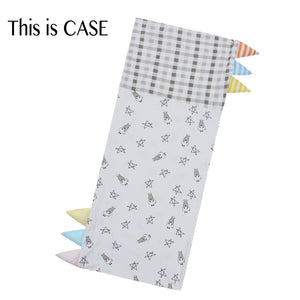 Bed-Time Buddy™ Case Small Star & Sheepz White + Checkers Grey with Color & Stripe tag - Jumbo