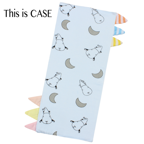 Bed-Time Buddy™ Case Small Moon & Sheepz Blue with Color & Stripe tag - Small