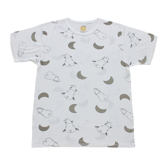 Unisex Short Sleeve T-Shirt Big Moon & Sheepz White