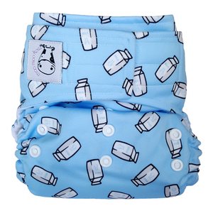 Cloth Diaper One Size Aplix - Milk Cartons