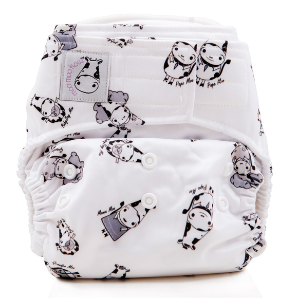 Cloth Diaper One Size Aplix - Moo Family White Button