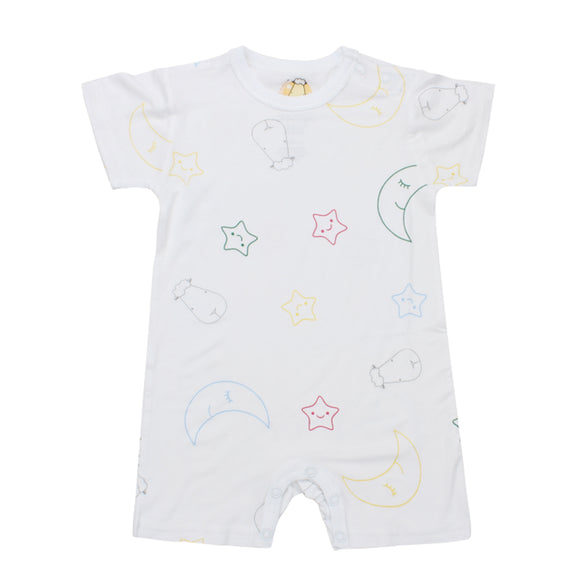 Romper Short Sleeve White Colourful Moon & Star