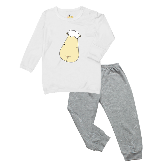Pyjamas Set White Big Face + Grey Big Moon & Sheepz