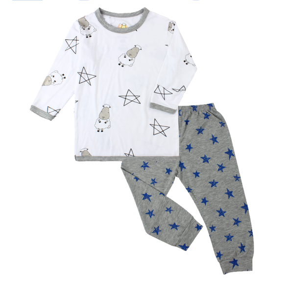Pyjamas Set White Big Star & Sheepz + Blue Star