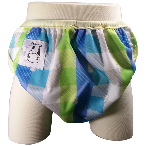 One Size Swim Diaper Checkers with Butter Border