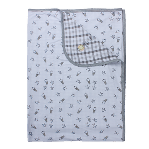 Double Layer Blanket Small Star & Sheepz White + Checkers Grey - 36M