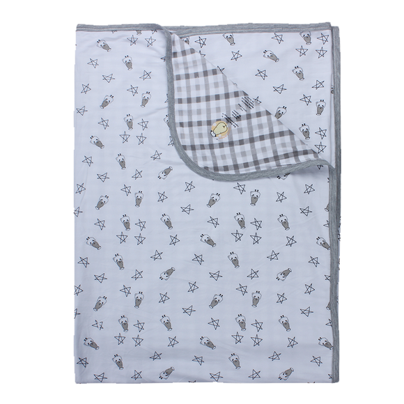 Double Layer Blanket Small Star & Sheepz White + Checkers Grey - 4T