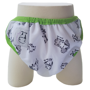 One Size Swim Diaper Moo Family with Green Border
