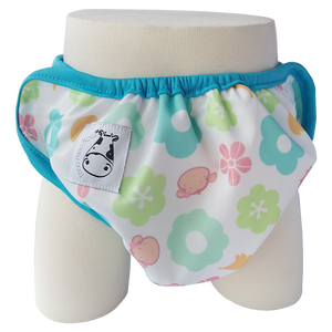 One Size Swim Diaper Mooky Flower with Blue Border