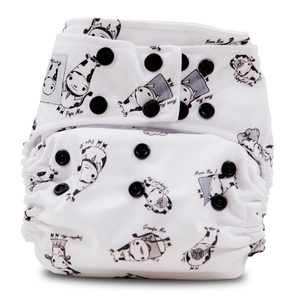 Cloth Diaper One Size Snap - Moo Family Black Snap