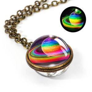 Double Sided Pendant Glass Art Picture Handmade Necklace