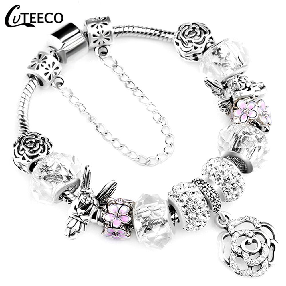 Silver Charms Bangle Crystal Flower Beads Bracelets