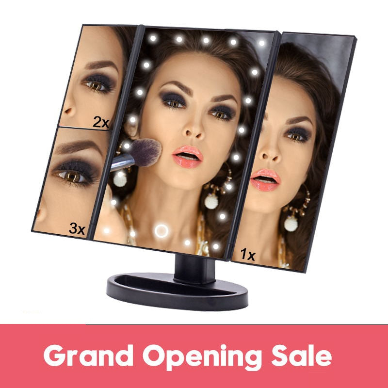 LED Lighted Desktop Makeup  3 Folding Adjustable Mirror