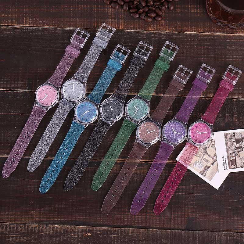 Ladies Quartz Silicone Glitter Strap Wristwatch