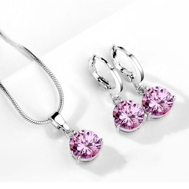Round Cubic Zircon Hypoallergenic Copper Necklace/Earrings Jewelry Set
