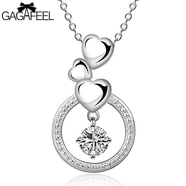 Silver Crystal Zircon Heart Charm Pendant Necklace