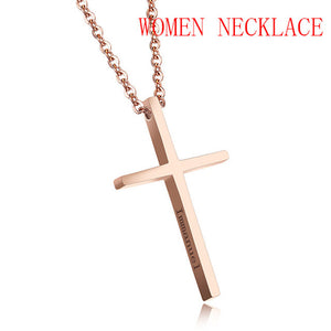 Cross Pendant Unisex  Stainless Steel Chain Necklace
