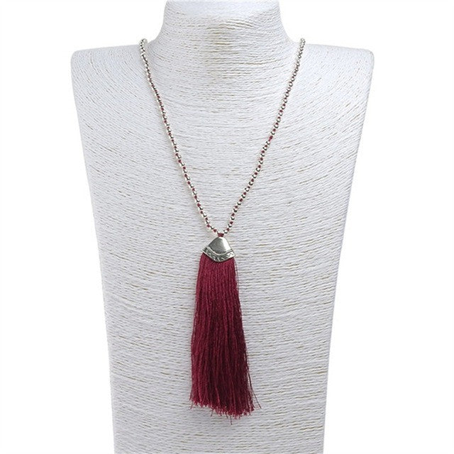 Pendant Choker  Long Tassel Necklace Chain.
