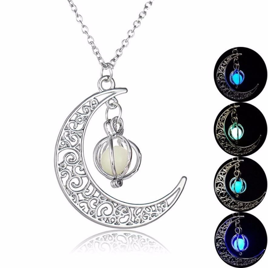 Glow In the dark Moon shape Necklace with Luminous ball