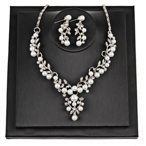 Pearl Rhinestone Necklace and Earrings