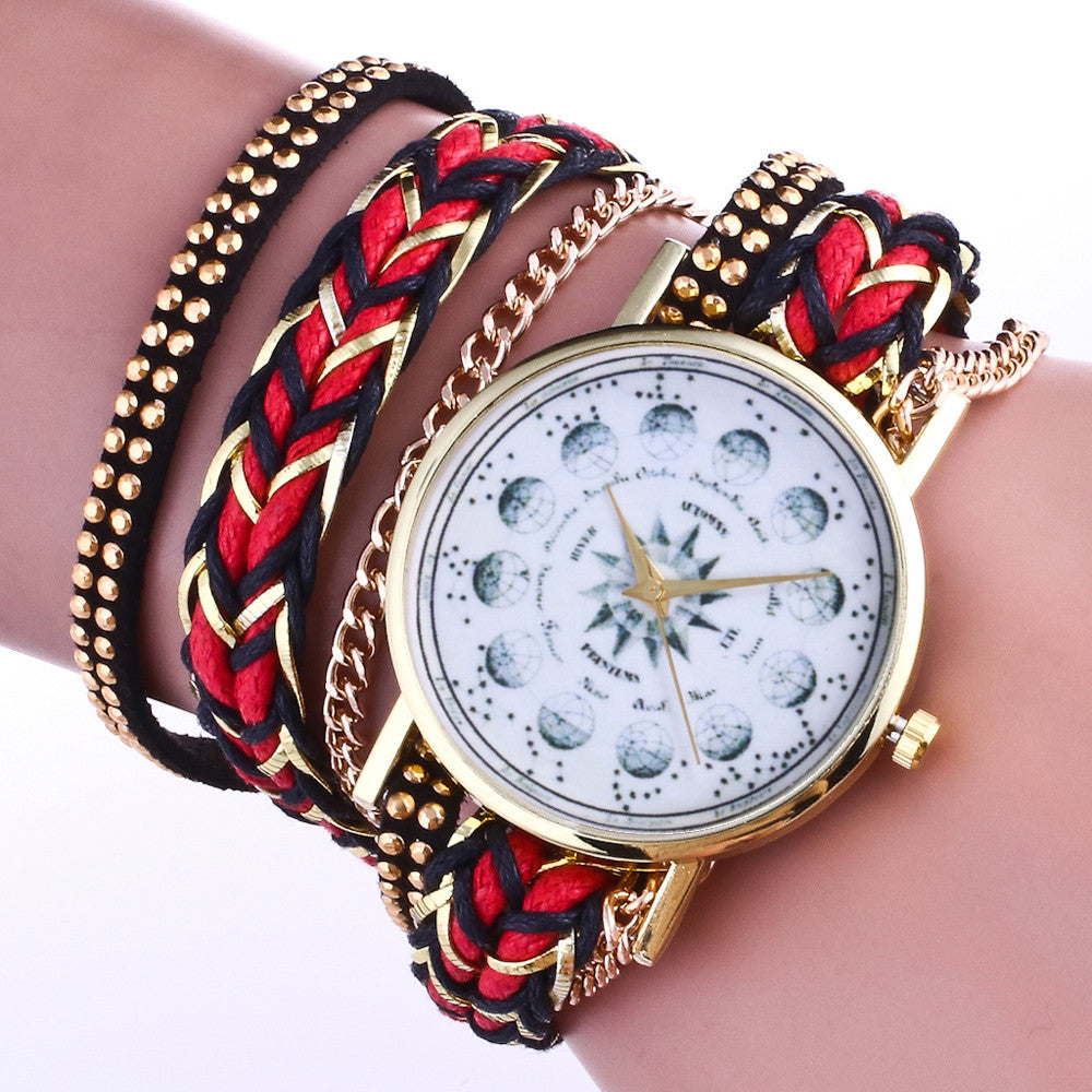 Weave Wrap Around Leatheroid Quartz Wrist Watch