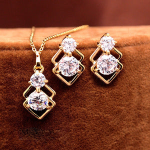 Double Layer Square Pendant Necklace Earrings Jewellery