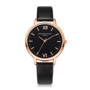 Black Dial Roman Leather Band Quartz  Watch