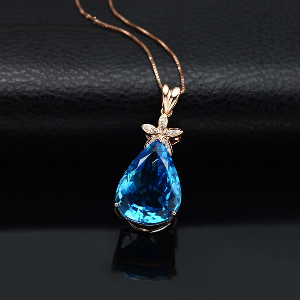 Blue Rhinestone Necklace Pendants