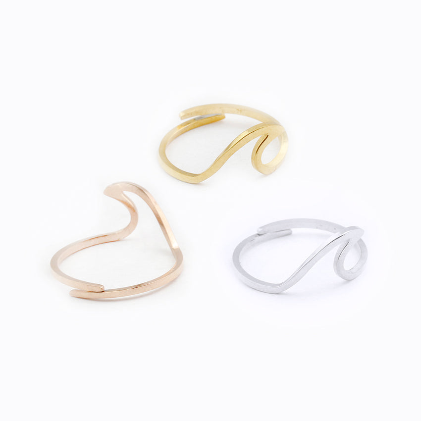 Ocean Wave Stainless Steel Rings