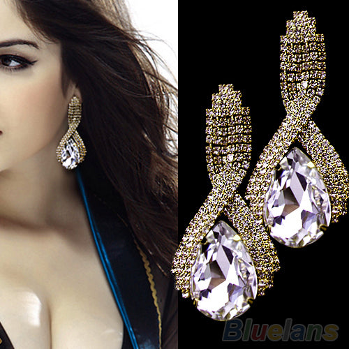 Rhinestone  Water Drop Crystal Earrings