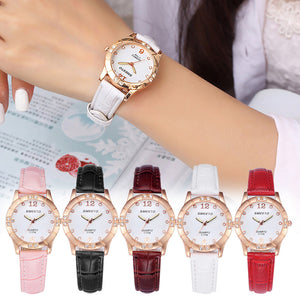 Rhinestone Leather Analog Quartz Watches