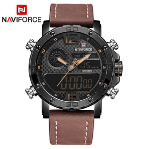 Leather Sports Quartz LED Digital Military Wrist Watch