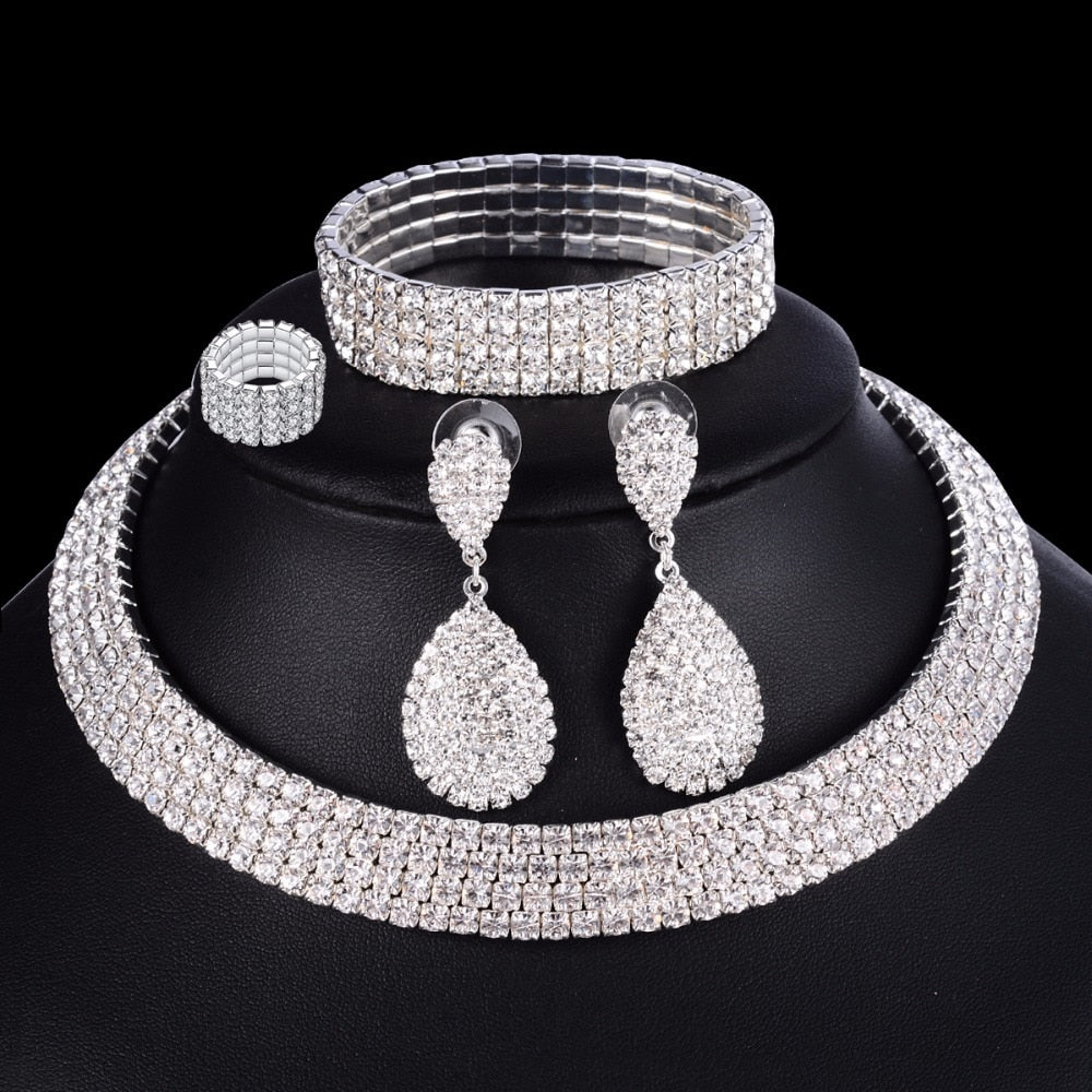 Luxury Necklace Bracelet Ring Earring Silver Crystal Jewelry Set