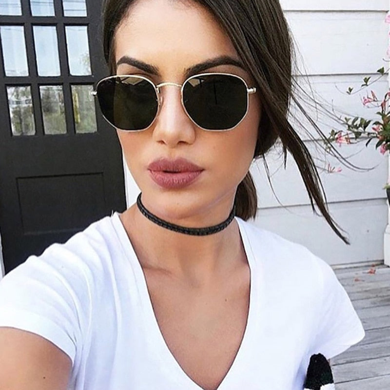 Unisex Hexagon Black Metal Frame Driving Sunglasses