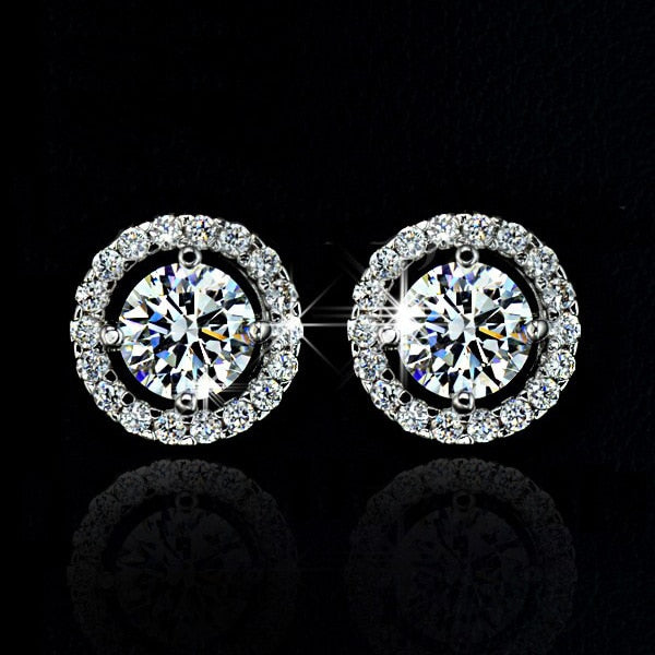 Exquisite Silver Plated Zircon Crystal Jewelry Set