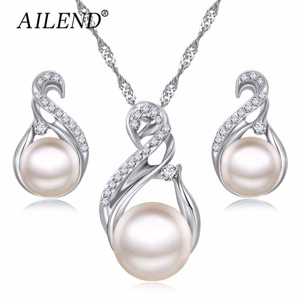 Silver Color Earrings Pearl Jewelry Set