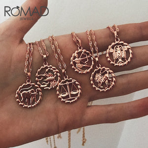 Zodiac Sign Rose Gold Filled Necklaces