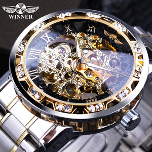 Transparent Diamond Luminous Hands Mechanical Retro Skeleton Wrist Watches