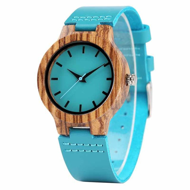 Royal Blue Natural Bamboo Wood Quartz Leather  Wristwatch