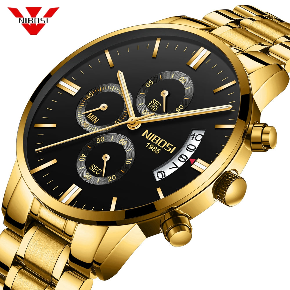 Chronograph Sport  Luxury Waterproof Full Steel Quartz Gold Wristwatch