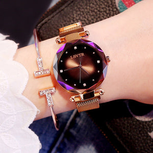 Rose Gold Diamond Starry Sky Magnet Waterproof Watch