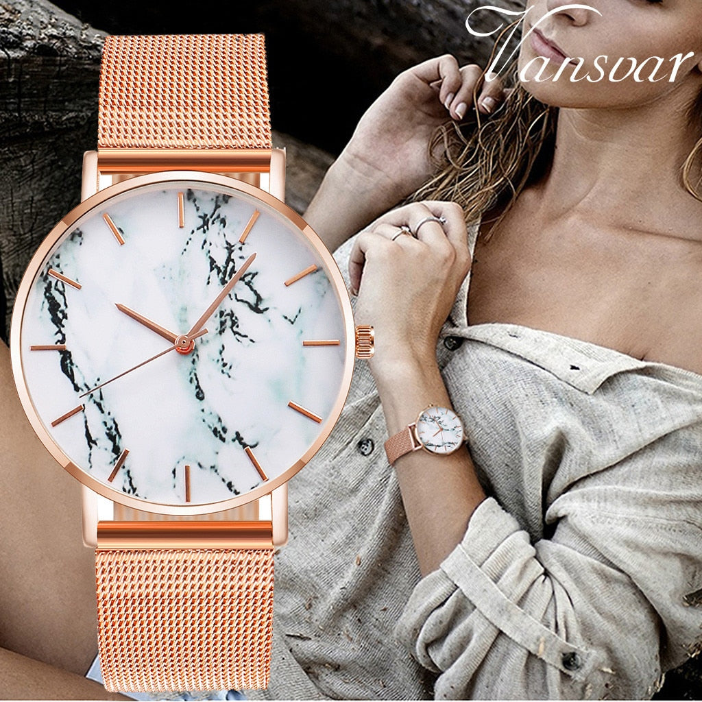 Marble Design Ladies Stainless Steel Band Strap Quartz Analog Wrist Watch