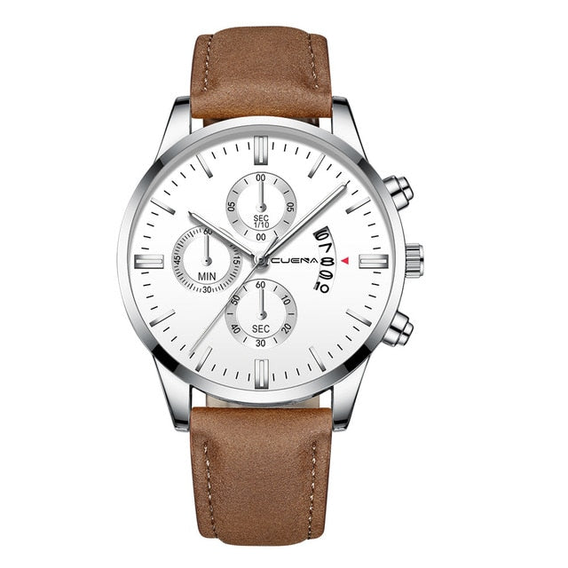 Sport Leather Band Quartz Analog Watch