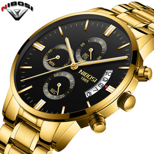Luxury Gold Quartz Stainless Steel Watch