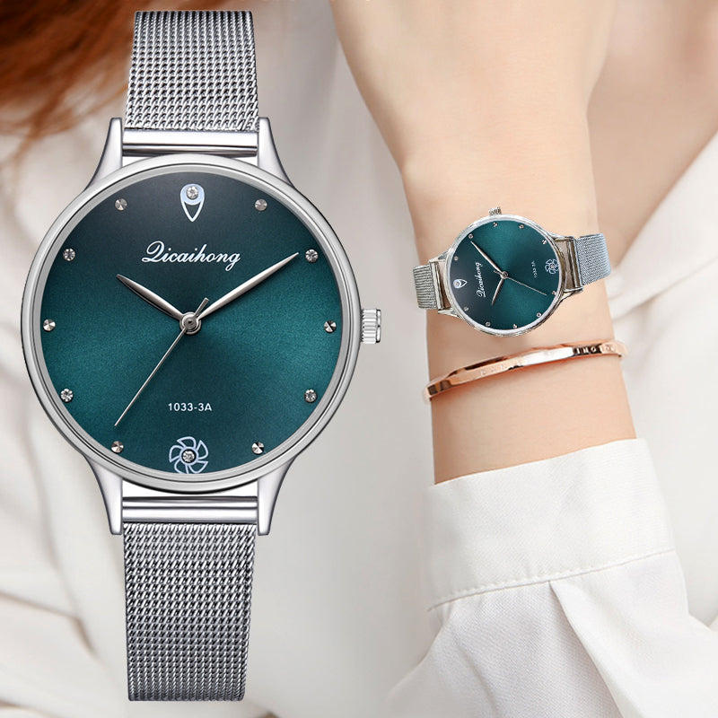 Green Dial Bracelet Silver Belt Quartz Dress Watch