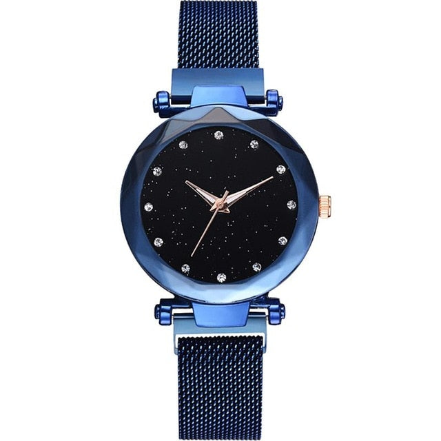 Diamond Rose Gold Starry Sky Magnetic Mesh Ladies Quartz Wrist Watch